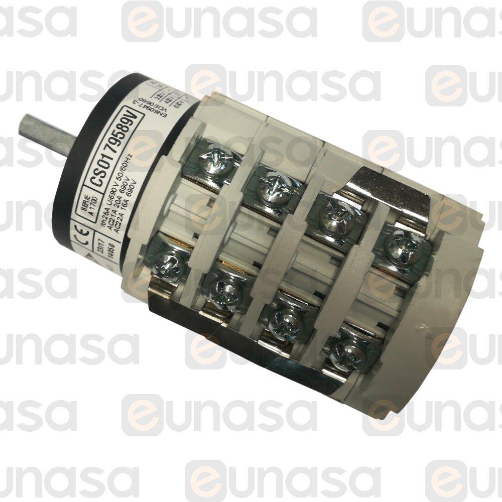 3xein//aus//ein 690v 20a Main Switch Rotary Switch 1//0//2 Cam Switch 48x48mm